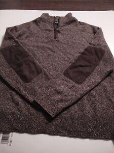NEIMAN MARCUS Men's 1/4 ZIP 100% CASHMERE Large LS Sweater SUEDE ELBOW PATCHES