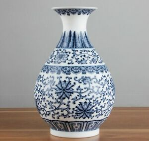 Handmade Vase Blue and white Porcelain Eggshell Chinese Ceramic Reproduction