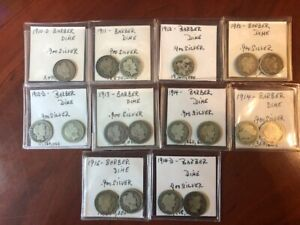 LOT OF 18 BARBER Dimes CONSTITUTIONAL SILVER VALUED $32.36