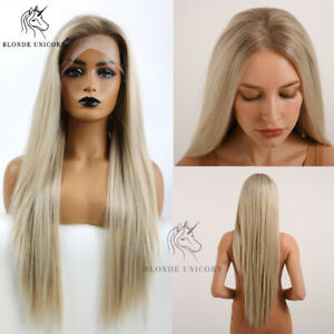 Long Ash Blonde Straight Lace Front Synthetic Wigs Layered Lace Wig for Women