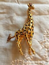 "Large Bold Pre-Owned GIRAFFE Brooch 3-1/2"" x 2"" Gold Tone"