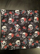"Skull and Roses Throw Pillow 15""x15"""