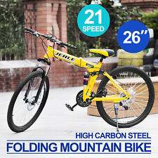 "Folding Mountain Bike Men/Women 26"" 21-Speed  Damping Off-road Dual Disc Brakes"