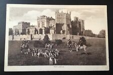 Rare photograph postcard of huntsmen & hounds outside Raby Castle .c. 1930's.