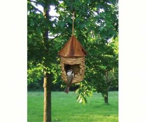 SMALL HANGING GRASS TWINE ROOSTING POCKET BIRDHOUSE with ROOF, SE10345       #dm