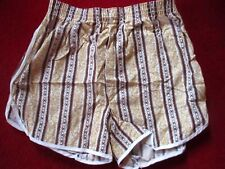 SMALL 32 NWOT MEN'S HANES GOLD/BROWN PIPED HIPPY BOXERS UNDERWEAR USA