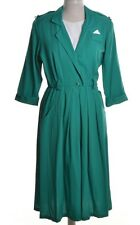 Vintage 80s Dress 50s Style Emerald Green Contrast Trim Breli Originals 12