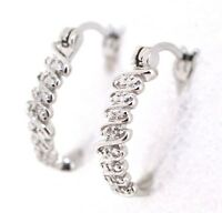 Diamant Ohrringe Creole 925 Sterling Silber