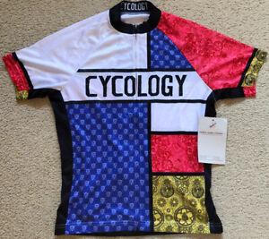 085 NWT Cycology Sample Cycling Jersey Full Zip 4 Pockets Reflective Mens Size M