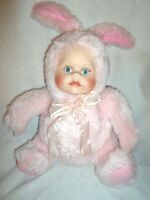 "Pink Baby Doll Rabbit Bunny 14"" Porcelain Face Plush Soft Toy Stuffed Animal"