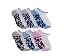 3 or 6 Pairs of Ladies Women's Animal Print Trainer Sport Liner Socks