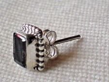 SINGLE STERLING SILVER 8mmx 6mm OBLONG STUD EARRING with GARNET STONE £6.50 NWT