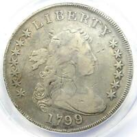 1799/8 Draped Bust Silver Dollar $1 Coin - Certified ANACS VF20 Details - Rare!