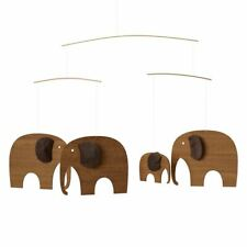 Flensted Elephant Party Modern Baby Hanging Mobile Wood Teak Danish Denmark—New!