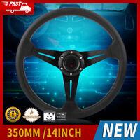 350mm 14'' Universal Aluminum PU Leather 6-Bolt Racing Steering Wheel W/ Horn