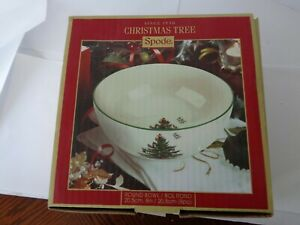NEW SPODE CHRISTMAS TREE GREEN TRIM 8 IN ROUND SERVING BOWL HOLIDAY