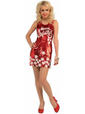 Women's Racy Red Merry Christmas Snowflake Sequin Dress XL 16-18