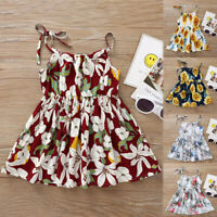 Toddler Baby Girls Princess Floral Sunflower Beach Party Casual Dress Clothes