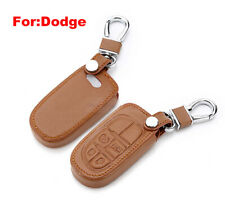 For Dodge Charger 4 Button Remote Fob Bag Leather Car Key Cover Case Brown