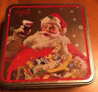 COCA COLA SANTA CLAUS Christmas Metal Tin in square shape, COKE