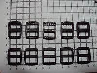 "10 x Black Plastic 3 Bar Slides Tri Glide Fasteners Clip Buckles 15mm ""R"""