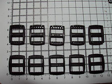 "10pcs. Black Plastic 3 Bar Slides Tri Glide Clip Buckles for Webbing - 15mm ""R"""