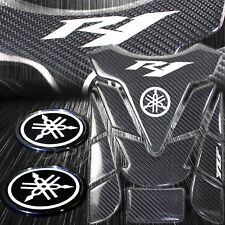 "Real Carbon Fiber Fuel/Gas Tank Pad+2.5""Reflective Logo Emblem Sticker for YZFR1"