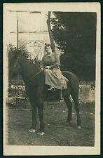 Lady riding sidesaddle Horse original old 1910s Private Real photo postcard