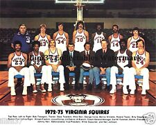 1972-73 VIRGINIA SQUIRES ABA BASKETBALL TEAM 8X10 PHOTO DR J JULIUS ERVING