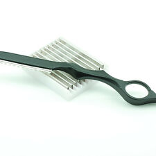 """1pc x Thick Black Hair Salon 7"""" Styling Feather Razor with Blade + 10 Blades"""