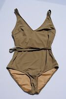 NWT J Crew Swimsuit Gold Trim Tank WET STONE Sz 6 Small S #79862