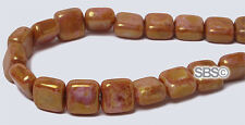 """Czech 6mm Flat Square """"Opaque Rose / Gold"""" (50 beads per strand) FREE SHIPPING"""