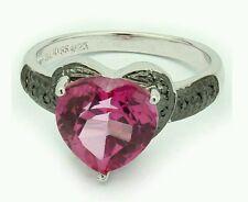 4.50 CT PINK TOPAZ & 14 PCS BLACK DIAMOND 0.925 STERLING SILVER W/ PLATINUM RING