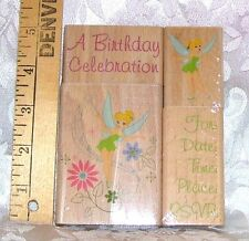 DISNEY TINKERBELL PARTY INVITE RUBBER EMBOSSING STAMP SET NEW ALL NIGHT MEDIA A3