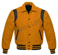 Varsity Bomber Baseball College Retro Gold Wool & Black Leather Strip jacket