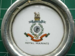 WW1 ROYAL MARINES COMMEMORATIVE SILVER & PORCELAIN SMALL DISH