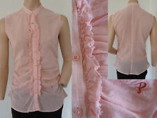 PHARD BLUSA TOP GIRL SMANICATO mandarinkragen volant rosa gessato S Top