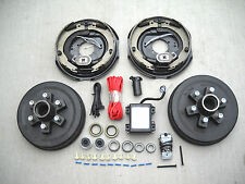 """Add Brakes Complete Kit 6x5.5 Drums, 12"""" Electric Backing Plates, 7000# Trailer"""