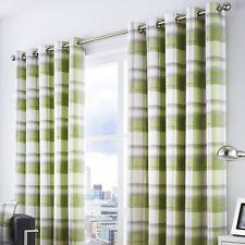 Fusion Balmoral Check Lined Eyelet Curtains 168 X 137cm - Green