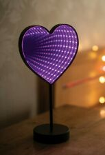 LED purple heart infinity mirror light fairy Christmas party XMAS Girls bedroom