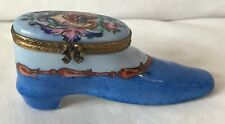 Limoges Hand Painted Pill Box in the Shape of a Shoe - Floral Decor