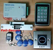 RFID Card Door Access Control+NC Strike Door Lock+IR Exit Button+Remote Control