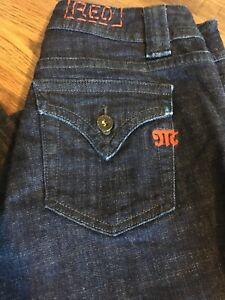 "MISS ME (RED)  American Designer Ladies LUCY Capri Dark Blue Jeans 29"" Waist"