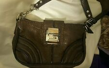 GUESS Dark Chocolate Brown Small Leather look shoudler carry Purse Handbag