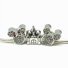 Mickey Minnie Mouse Rhinestone Castle Charms European Bead fit Bracelet 3pc