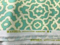 Fabric Waverly Inspirations BTY Cotton Home Decor- Green / White