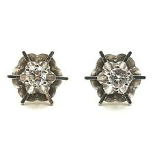 Vintage Modernist 9ct White Gold 20pt Diamond Solitaire Earrings