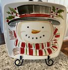 Longaberger Pottery SNOWMAN TOP HAT #31961 LUNCHEON 9' Plate with box A
