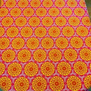Round Table Cloth Linen Pink Yellow 60's 70's Vibe Style Polyester