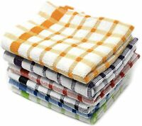 Towelogy® 6 x Cotton Tea Towels Monocheck Drying Cleaning Kitchen Dishcloths